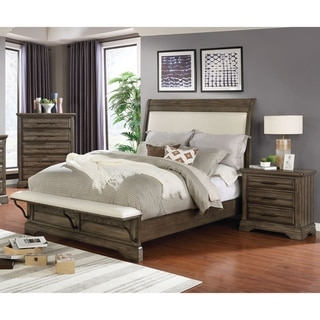Furniture of America Kete 3-piece Padded Bedroom Set with Storage