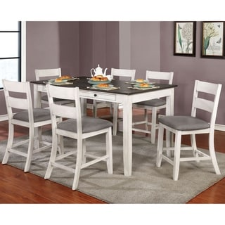 Furniture of America Lini Farmhouse White 7-piece Counter Dining Set