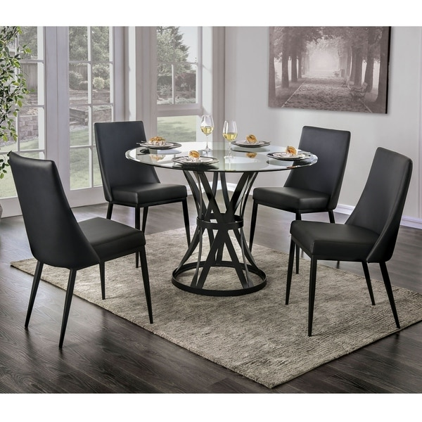 Furniture of America Fola Contemporary Black Steel 5-piece Dining Set