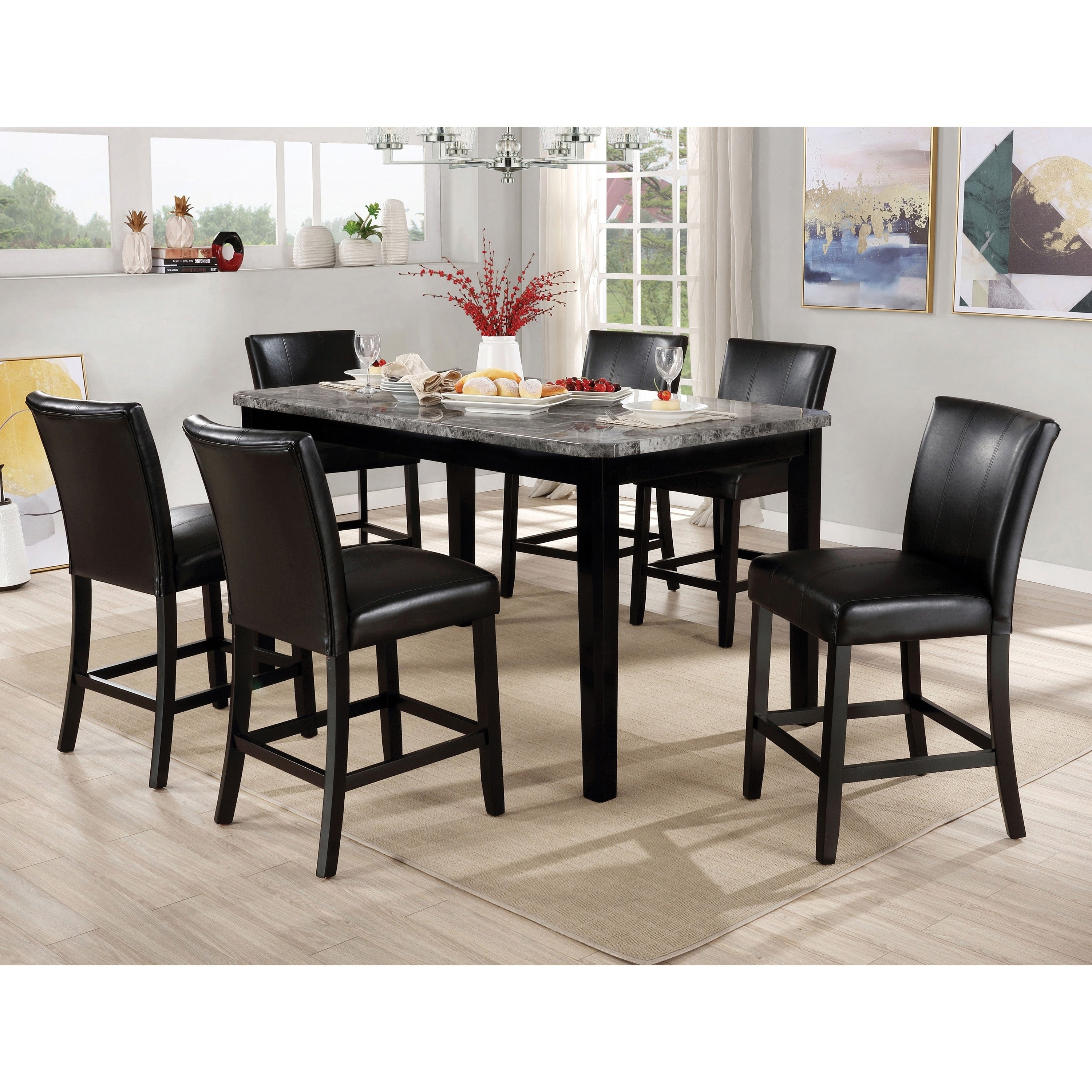 Furniture Of America Mis Contemporary Black 7 Piece Counter Dining Set Overstock 29726505