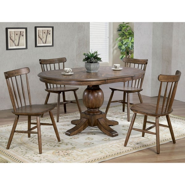 Furniture of America Yorm Rustic Oak Solid Wood 5-piece Dining Set