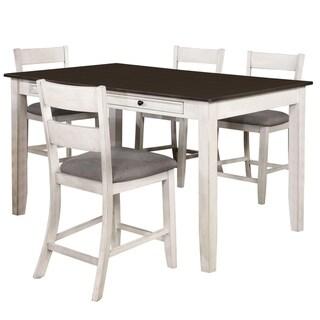 Furniture of America Lini Farmhouse White 5-piece Counter Dining Set