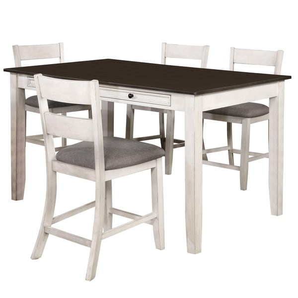 Furniture of America Lini Farmhouse White 5-piece Counter Dining Set