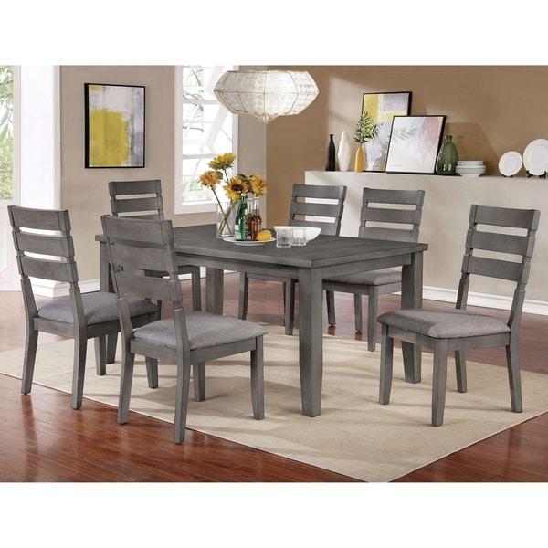 Furniture of America Jima Transitional Grey 7-piece Dining Set