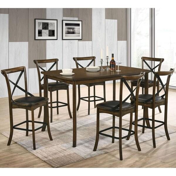 Furniture of America Dola Transitional Oak 7-piece Counter Dining Set