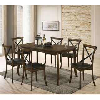 Furniture of America Dola Transitional Oak 7-piece Dining Set