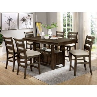 Furniture of America Norm Transitional Walnut 7-piece Counter Set