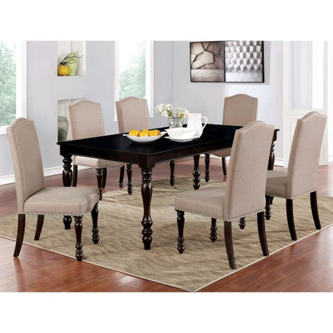 Furniture of America Rila Transitional Espresso 7-piece Dining Set