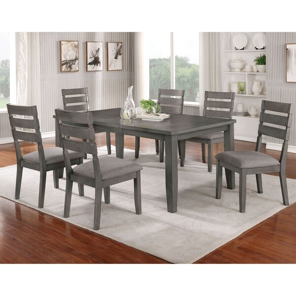 Furniture of America Jima Transitional Grey 72-inch 7-piece Dining Set