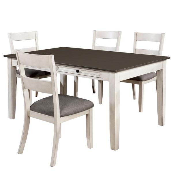 Furniture of America Lini Farmhouse White 5-piece Dining Set