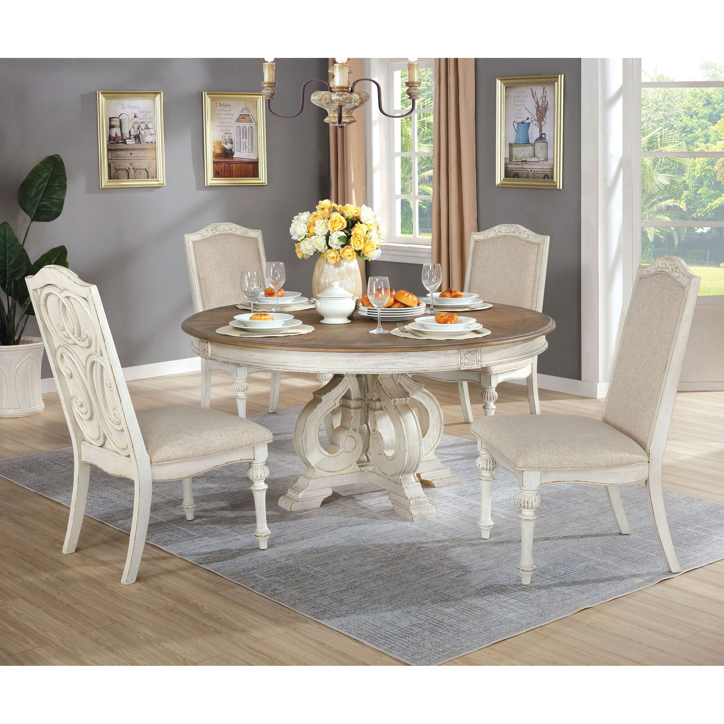The Gray Barn Brook House Farmhouse White 5 Piece Round Dining Set Overstock 29726525
