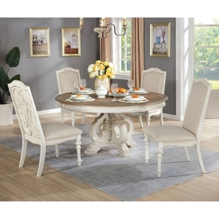 Furniture of America Pann Farmhouse White 5-piece Round Dining Set