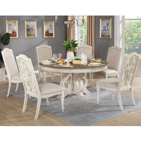 Furniture of America Pann Farmhouse White 7-piece Round Dining Set