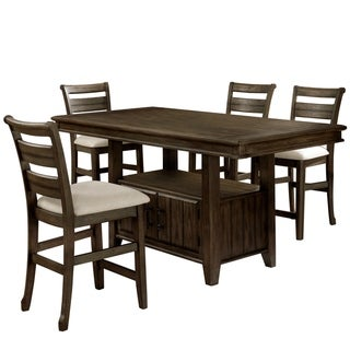 Furniture of America Norm Transitional Walnut 5-piece Counter Set