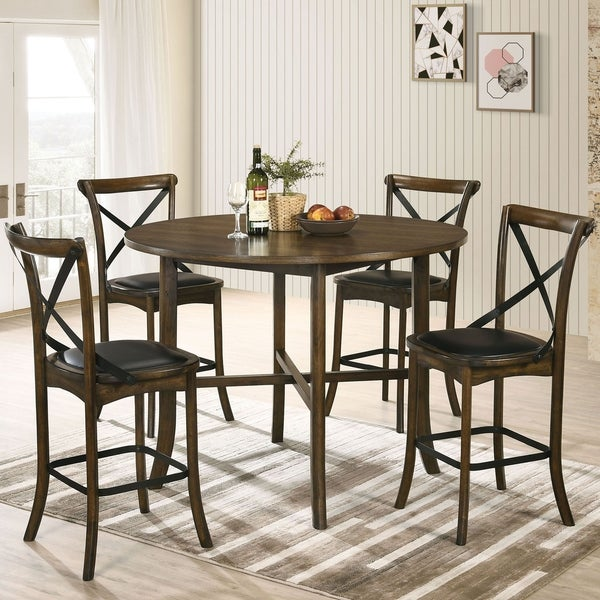Furniture of America Dola Transitional Oak 5-piece Round Counter Set