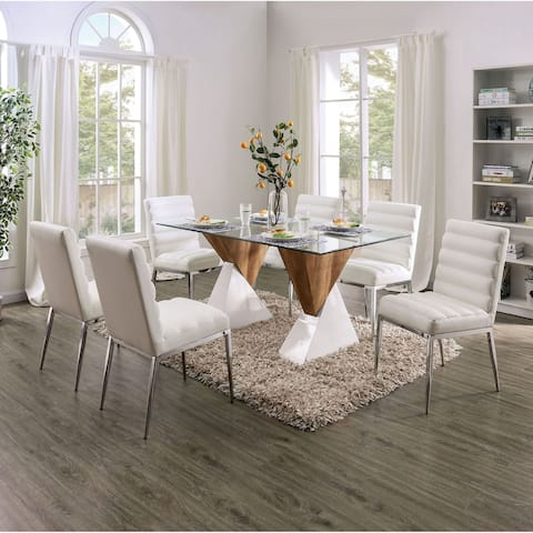 Furniture of America Bame Contemporary White 7-piece Dining Set
