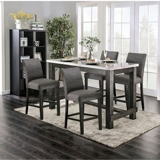 Furniture of America Shap Rustic Solid Wood 5-piece Counter Dining Set