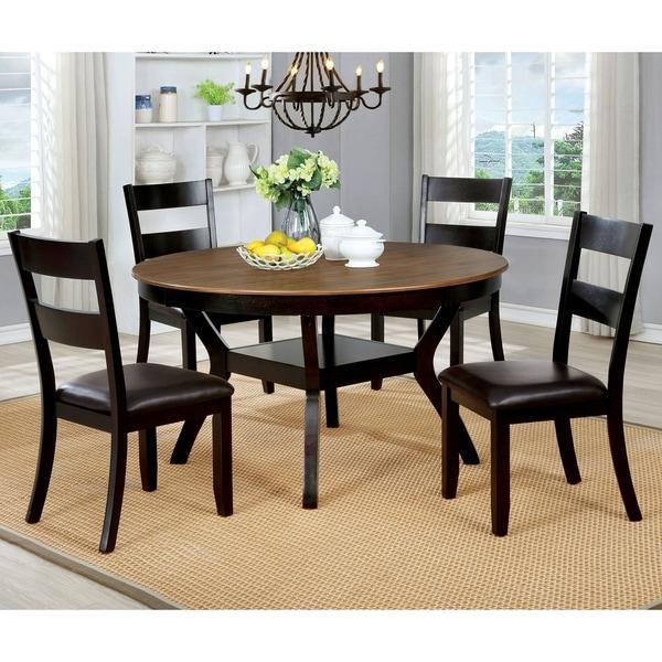 Furniture of America Sine Transitional Brown 5-piece Round Dining Set