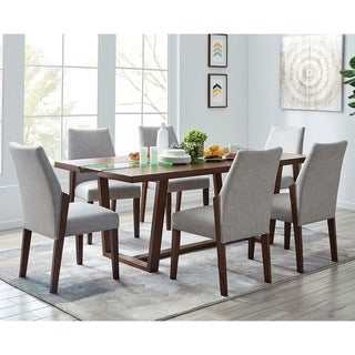 Furniture of America Ezio Mid-century Modern Oak 7-piece Dining Set