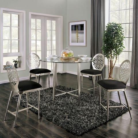 Furniture of America Tend Contemporary Silver 5-piece Counter Set