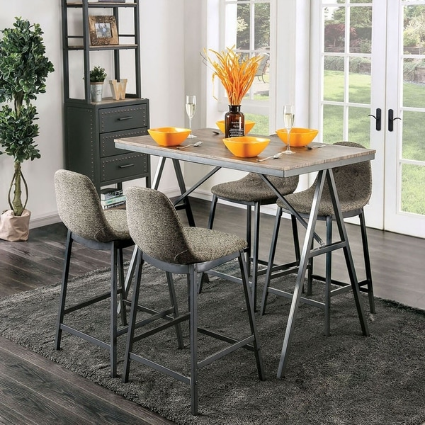 Furniture of America Brno Mid-century Modern Grey 5-piece Counter Set