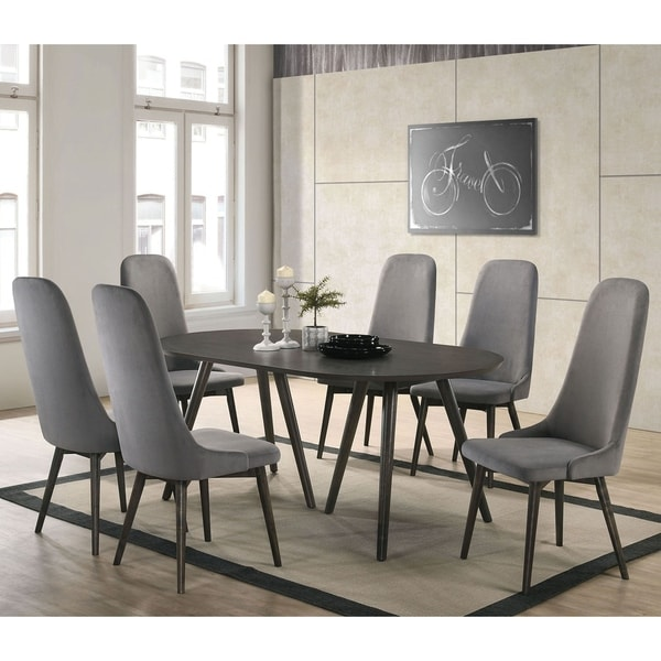 Furniture of America Yaza Mid-century Modern Grey 7-piece Dining Set