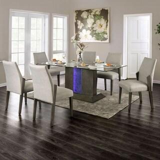 Furniture of America Rax Mid-century Modern Grey 7-piece Dining Set
