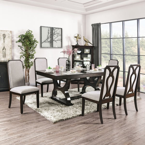Furniture of America Cope Transitional Espresso 7-piece Dining Set