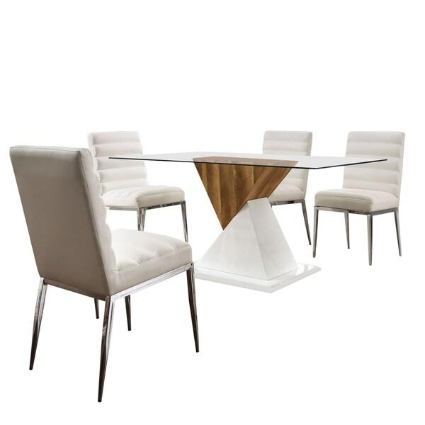 Furniture of America Zigg Contemporary White 5-piece Dining Set