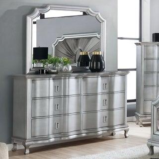 Furniture of America Maza Silver 2-piece Dresser and Mirror Set