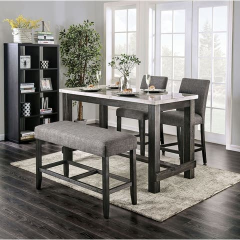 Furniture of America Shap Rustic Solid Wood 4-piece Counter Dining Set