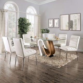 Furniture of America Fen Contemporary White 7-piece Dining Set