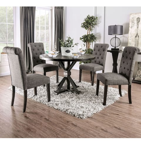 Furniture of America Fend Rustic Solid Wood 5-piece Round Dining Set