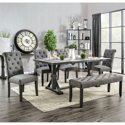 Copper Grove Chalwa 6-piece Rustic Dining Set with Table and 4 Upholstered Chairs and 1 Upholstered Bench