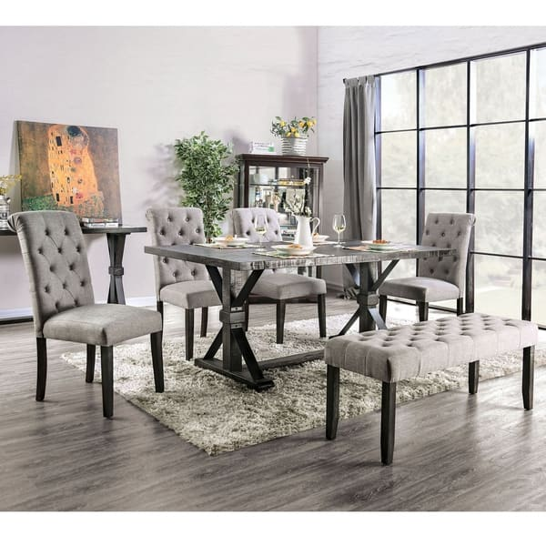Copper Grove Chalwa 6 Piece Rustic Dining Set With Table And 4 Upholstered Chairs And 1 Upholstered Bench Overstock 29726564