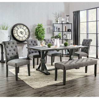 Furniture of America Yere Rustic Solid Wood 6-piece Dining Set