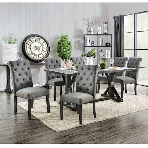 Furniture of America Yere Rustic Solid Wood 7-piece Dining Set