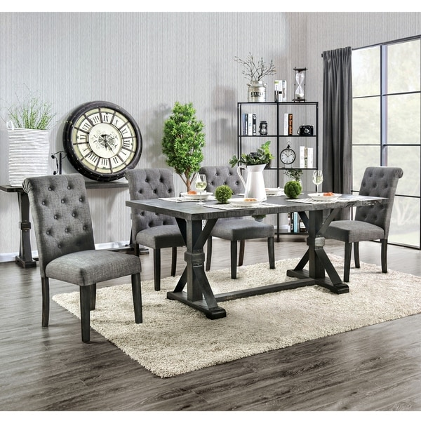 Furniture of America Yere Rustic Solid Wood 5-piece Dining Set
