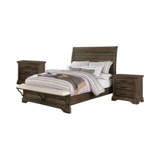 Furniture of America Kete Walnut 3-piece Bedroom Set with 2 Nightstands