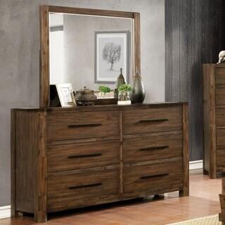 Furniture of America Pore Walnut 2-piece Dresser and Mirror Set