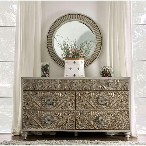 Furniture of America Daff White 2-piece Dresser and Mirror Set