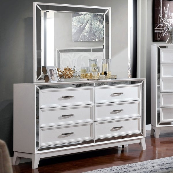 Silver Orchid Brent White 2-piece Dresser and Mirror Set