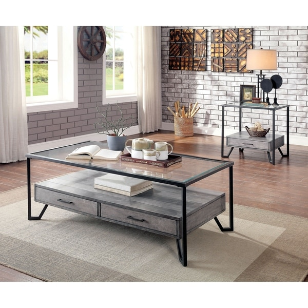 Furniture of America Korz Industrial Grey 2-piece Accent Table Set. Opens flyout.