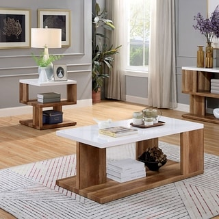 Furniture of America Rone Contemporary White 2-piece Accent Table Set