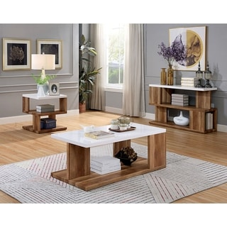 Furniture of America Rone Contemporary White 3-piece Accent Table Set