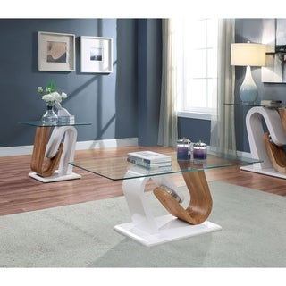 Strick & Bolton Tong White Tempered-glass Top Accent Tables (Set of 2)