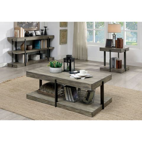 Furniture of America Karnes Rustic Grey Metal 3-piece Accent Table Set