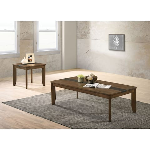 Furniture of America Milner Walnut Solid Wood 2-piece Accent Table Set
