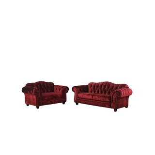 Furniture of America Tace Transitional Wine 2-piece Sofa Set