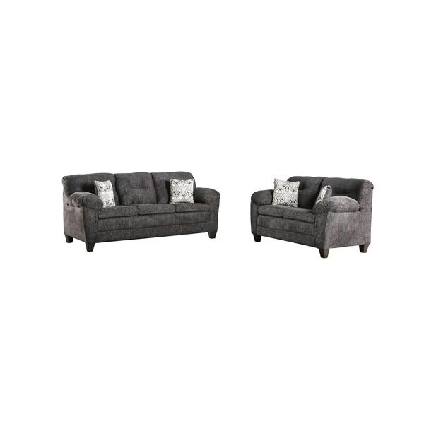 Furniture of America Bowe Contemporary Grey 2-piece Sofa Set